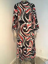 NATORI CAFTAN LONG DRESS GOWN MOD PRINT RED BLACK WHITE SMALL