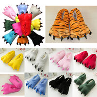 Adult Kid Animal Monster Feet Slippers Claw Dinosaur Paw Plush Indoor Warm Shoes