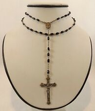 """Vintage INRI Sterling Silver Crucifix Cross Black Onyx Rosary Bead 25"""" Necklace"""