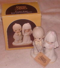 "Nib Precious Moments Bride & Groom Lord Bless You Porcelain Bisque 5.75"" High"