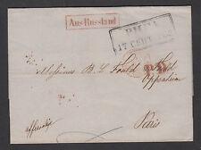 Russia, 1853 Stampless SFL, Riga-Paris, boxed black RIGA in Cyrillic