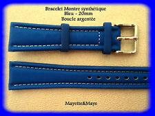 BRACELET MONTRE SYNTHÉTIQUE BLEU - 20mm - BOUCLE ARGENTÉE/* BELLE QUALITÉ k22