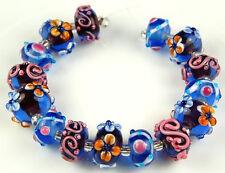 HANDMADE LAMPWORK GLASS BEADS Desert Blue Moon Flower Jewelry Craft Rondelle