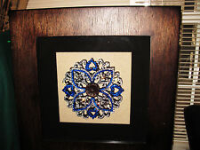 Shadow Box Art Rhinestones Blue with White in Wood Contemporary Floral