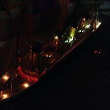 "Titanic wooden model cruise ship with flashing light 60"""