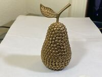 Vintage Studded Brass Pear Fruit Paperweight to Figurine