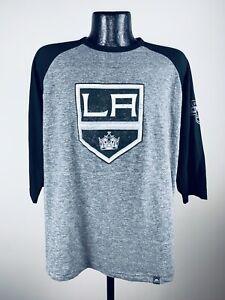 Men's Majestic Los Angeles Kings Grey Stick to Stick 3/4 Sleeve Raglan Shirt S