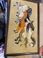 Vintage Yarn Art Large Mustangs Needlework Wild Horses Burlap Framed Embroidery