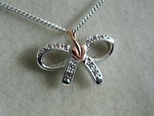 Clogau Silver & Welsh Gold Tree of Life Pink Sapphire Bow Pendant RRP £119.00