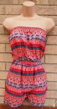 PRIMARK NEON PINK BLUE TRIBAL AZTEC ETHNIC SILKY FEEL PLAYSUIT ALL IN ONE 6 XS