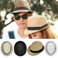 Men Women Child Summer Straw Fedora Panama Wide Brim Beach Cap Outdoor Sun Hat
