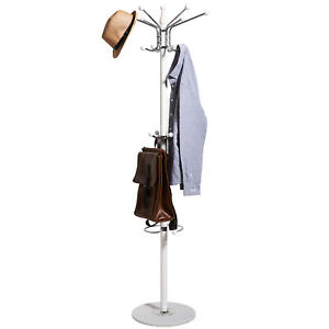 White Modern Style Coat And Hat Scarf Stand & Umbrella Rack Stable Base Hooks