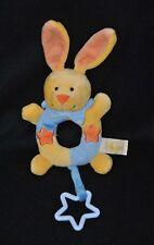 Peluche doudou lapin BABY LUNA jaune bleu étoiles orange grelot 13/21 cm TTBE