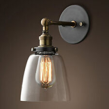 Industrial Style Clear Glass Wall Lamp Antique Brass Vintage Wall Sconce Light