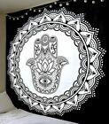 Hamsa Hand Fatima Tapestry Good Luck Wall Hanging 100% Cotton Indian Wall Decor