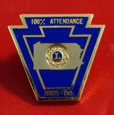 Vintage Lions Club 1985-86 Pennsylvania Perfect Attendance Pin