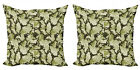 Ambesonne Green Print Cushion Cover Set of 2 for Couch and Bed in 4 Sizes