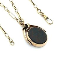 """Ladies/womens, 9ct/9carat gold antique spinning fob pendant and 23"""" figaro chain"""
