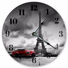 "10.5"" DRAMATIC PORTRAIT OF EIFFEL TOWER & VINTAGE CAR - Large 10.5"" Clock - 3359"
