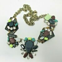 J Crew Blue Maroon Funky Cluster Cabochon NECKLACE EUC Signed Antiqued Gold Tone
