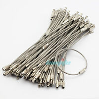 """Wholesale 100PCS 6"""" Stainless Steel Wire Cable Keychain Key Chains Rings Bulk US"""