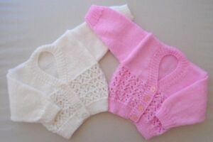 0-3 Months Baby Girls Cardigan Hand Knitted Pink or White Baby Shower Gift