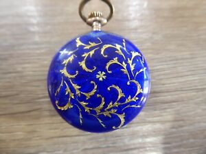 ANTIQUE SILVER  FOB / POCKET WATCH WITH GUILLOCHE ENAMEL CASING