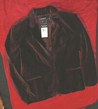 Lauren Ralph Lauren Burgundy Velvet Blazer Dress Jacket Size 16 Retail $265