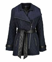 Vince Camtuo Women's Small Navy Layered Faux Leather-Accent Quilted Jacket