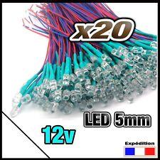 246C# LED 3mm 12v pré-câblé jaune diffusante 5 à 100pcs pre wired LED yellow