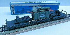 Märklin 4617 H0 6-achs.Tiefladewagen Sst 53 with Transformer Trafo-Union DB