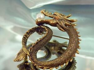 Fun Dragon Eternity Faux Pearl Funky Gold Tone Vintage 80's Brooch 841s1