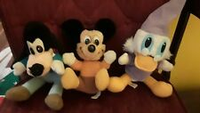 Vintage Mickeys Christmas Carol Lot of 3 Plush Mickey Goofy Donald Duck