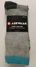 AIRWALK Men's Sports Crew Socks 3 Pair Grays/Aqua/Red Polyester Sock Size 10-13