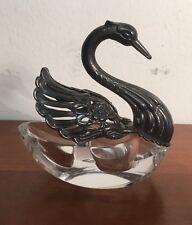 Raimond German Sterling Silver & Crystal Articulated Wing Swan Salt Cellars