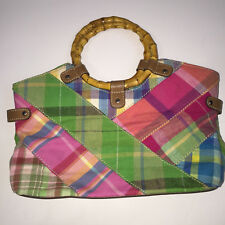Relic Patchwork Plaid Bamboo Handled Summer Handbag