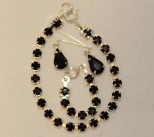 "Jet Black Rhinestone Set Earrings Necklace Bracelet Cissy Revlon 18-20"" Doll"