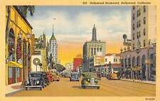 hollywood boulevard california L4651 antique postcard
