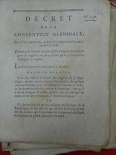 876 DÉCRET CONVENTION NATIONALE 1793 MARINE ENSEIGNE DE VAISSEAUX PORT