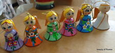 SET OF 6 colors Russian WOOD   ANGEL  HAND PAINTED & carved  ORNAMENT w/wings