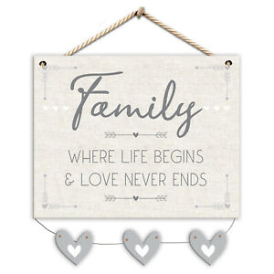 Family Where Life Begins & Love Never Ends Wall Plaque With Hearts Jute String