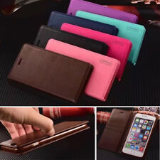 Classic Flip Genuine Leather Magnetic Strap Lot Card Pocket Stand Case Cover CT2