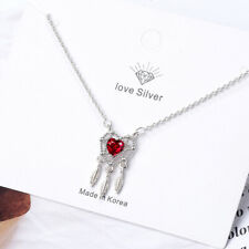 925 Sterling Silver Red Crystal Dream catcher Pendant Necklace Women Jewellery