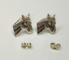 Cavallo, Equitazione, ORECCHINI a lobo in Argento 925 - perno con farfallina -