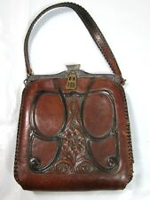 Antique Arts   Crafts Tooled Leather Purse w  Suede Inner Art Nouveau 1918  JEMCO aca4346b7b