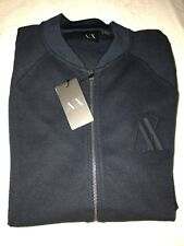 NEW Armani Exchange AX STRETCH Navy Blue Zip Up Cardigan 2XL XXL With AX Logo
