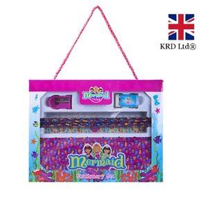 6Pcs MERMAID DELUXE STATIONARY SET Birthday Tin Box Kids Girls School Gift UK