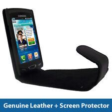 Black Genuine Leather Case for Samsung Wave 2 S8530 Cover Holder