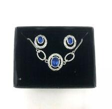 Avon Sonia 3 Piece Jewelry Set September Sapphire Earrings, Bracelet Necklace