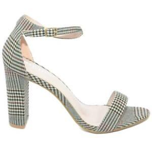Sandalo donna fantasia scozzese tacco largo alto 10 cm cinturino alla caviglia l